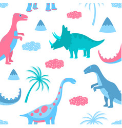 funny dinosaurs clouds and palm trees hand drawn vector image