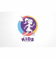 Girl kids logo children school play art vector