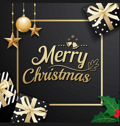 Gold merry christmas decoration ornament with vector