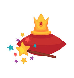 Golden crown on red cushion and magic wand vector