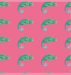 green chameleon seamless pattern pink background vector image