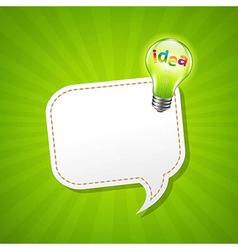 Green Sunburst Poster With Speech Bubble And Lamp vector image