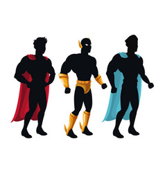group superhero people costume character vector image