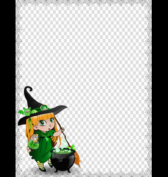 halloween spider coweb frame of cute baby witch vector image