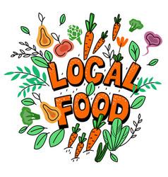 Handwritten quote local food eco design element vector