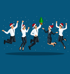 isometrics men and women in office clothes jump vector image