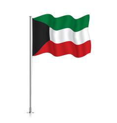 Kuwait flag waving on a metallic pole vector