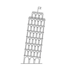 leaning tower pisa italy line icon vector image