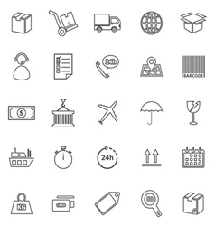 Logistics line icons on white background vector