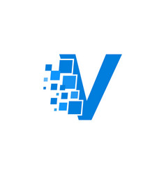 logo letter v blue blocks cubes vector image