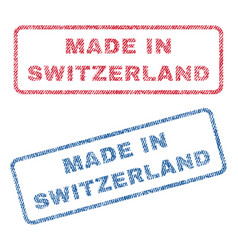 Made in switzerland textile stamps vector