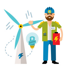 Man wind power flat style colorful cartoon vector