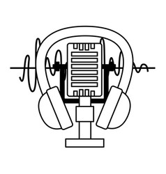 microphone and headphone music festival vector image