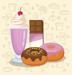 Milkshake and donuts with chocolate bar vector