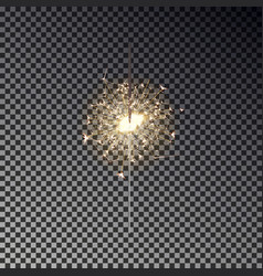 New year sparkler isolated on transparent backgrou vector