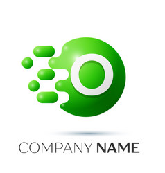 o letter splash logo green dots and circle bubble vector image