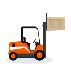 orange forklift lifted the box up vector image