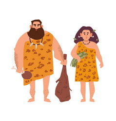 Pair of primitive archaic man and woman dressed in vector