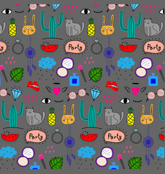 Pattern with hand drawn doodle lovely party vector