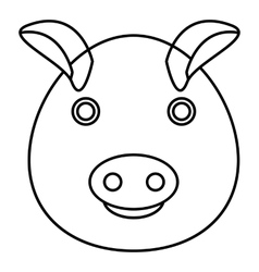 Pig icon outline style vector