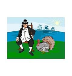 Pilgrim with Turkey vector