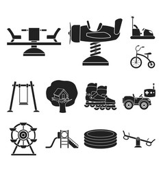 Playground entertainment black icons in set vector