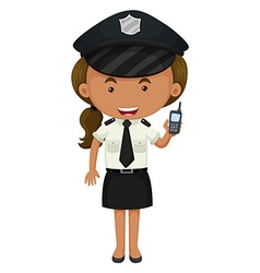 Policewoman in black and white uniform vector image
