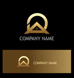 Roof home realty gold logo vector