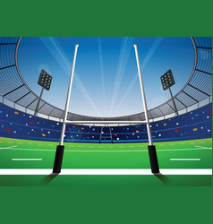 Rugby field with bright stadium vector