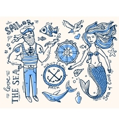 sailor and mermaid vector image