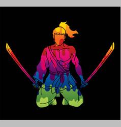 samurai warrior sitting with swords cartoon vector image