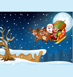 Santa claus and elf riding deer sleigh flying over vector
