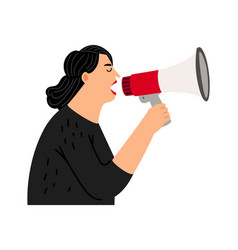screaming woman with bullhorn vector image