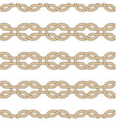 seamless nautical rope pattern square knot vector image