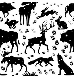 Seamless pattern with wild animals vector