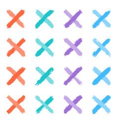 Set colored tint cross brushstroke paint vector