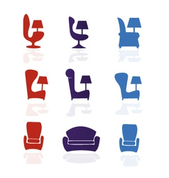 Set of armchair chairfurniture vector