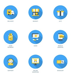 Set of Flat Design Business and Shopping Icons vector