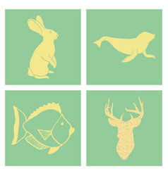 set of wedding icons theme drawing fishes animals vector image