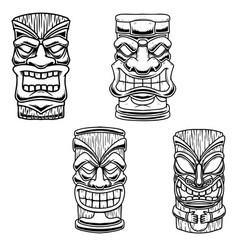 set tiki tribal wooden mask design element vector image