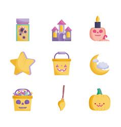 set trick or treat happy halloween vector image