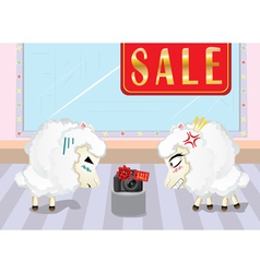 Sheeps on Shopping2 vector image