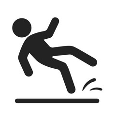 slipped man black icon wet floor warning vector image