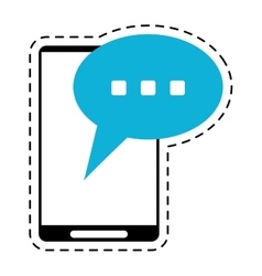 smartphone bubble speech conversation cut line vector image