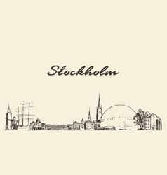 stockholm skyline sweden hand drawn sketch vector image