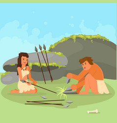 Stone age couple making spears vector