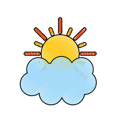 summer sun with cloud vector image