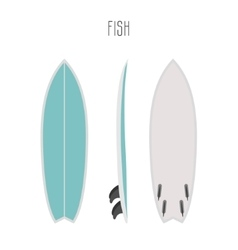 Surf fish board with three sides vector
