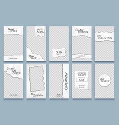 torn paper stories template paper scraps social vector image