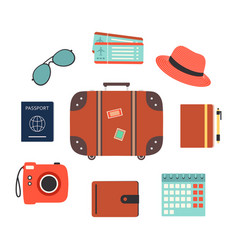 travel symbols set with touristic elements vector image